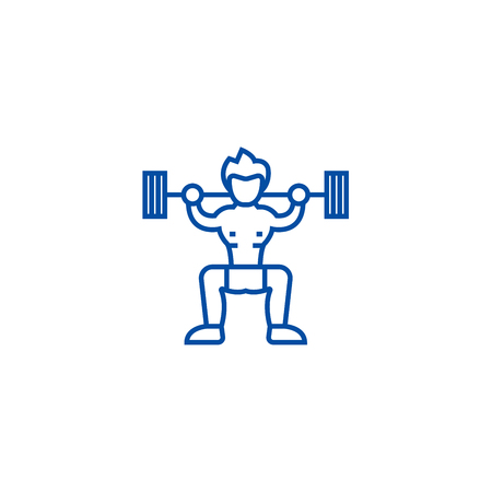 Weightlifter  line concept icon. Weightlifter  flat  vector website sign, outline symbol, illustration.