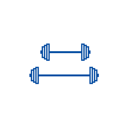 Weights line concept icon. Weights flat  vector website sign, outline symbol, illustration.