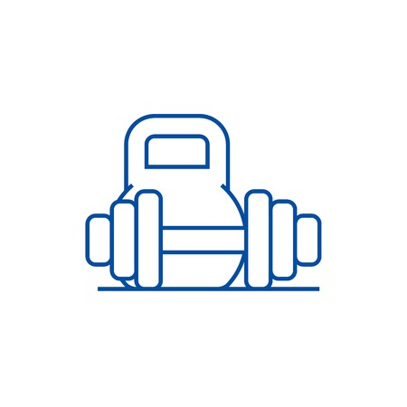 Weights and dumbbells line concept icon. Weights and dumbbells flat  vector website sign, outline symbol, illustration. Illustration