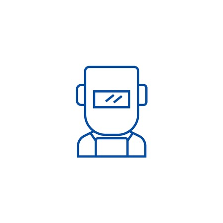 Welder line concept icon. Welder flat  vector website sign, outline symbol, illustration.