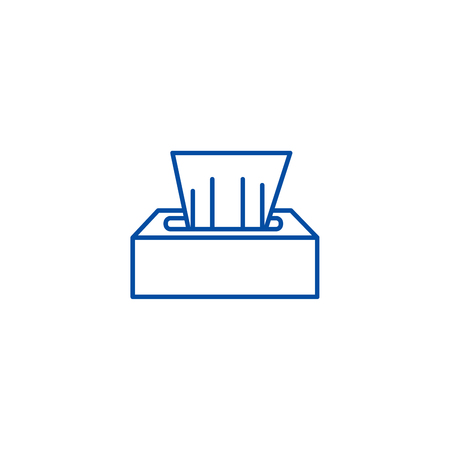 Wet wipes line concept icon. Wet wipes flat  vector website sign, outline symbol, illustration.  イラスト・ベクター素材