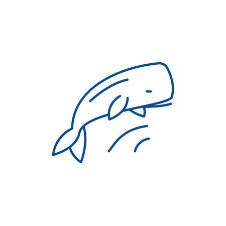 Whale line concept icon. Whale flat  vector website sign, outline symbol, illustration.