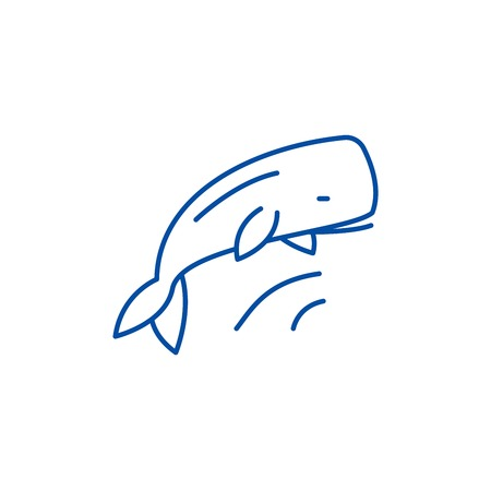 Whale line concept icon. Whale flat  vector website sign, outline symbol, illustration.