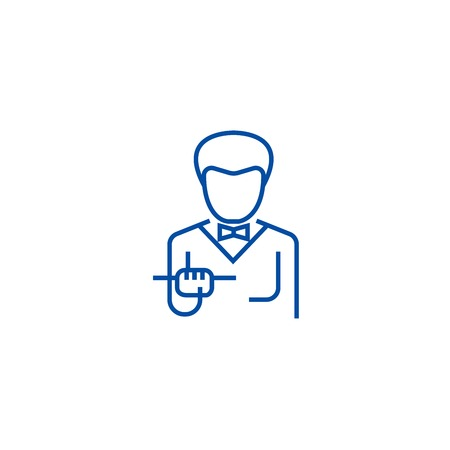 Waiter with food tray line concept icon. Waiter with food tray flat  vector website sign, outline symbol, illustration. Banque d'images - 119713887