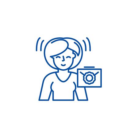 Waiting for a letter line concept icon. Waiting for a letter flat  vector website sign, outline symbol, illustration. 写真素材 - 119713889