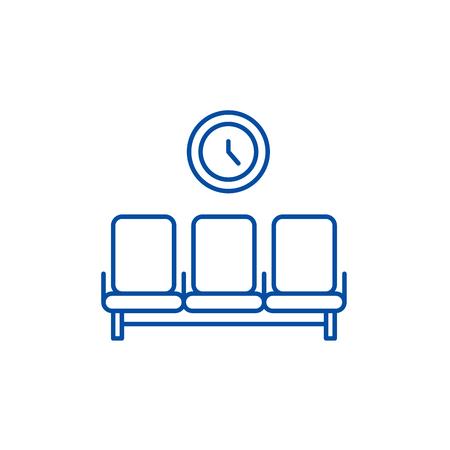 Waiting room line concept icon. Waiting room flat  vector website sign, outline symbol, illustration. Illustration