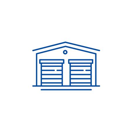 Warehouses line concept icon. Warehouses flat  vector website sign, outline symbol, illustration.