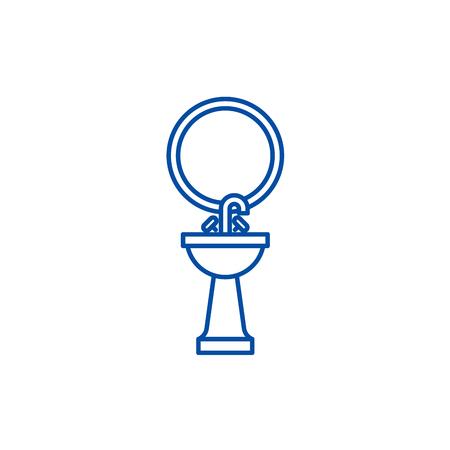Washbasin line concept icon. Washbasin flat  vector website sign, outline symbol, illustration.
