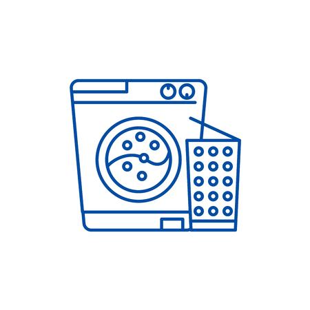 Washer line concept icon. Washer flat  vector website sign, outline symbol, illustration. Stock Vector - 119713980