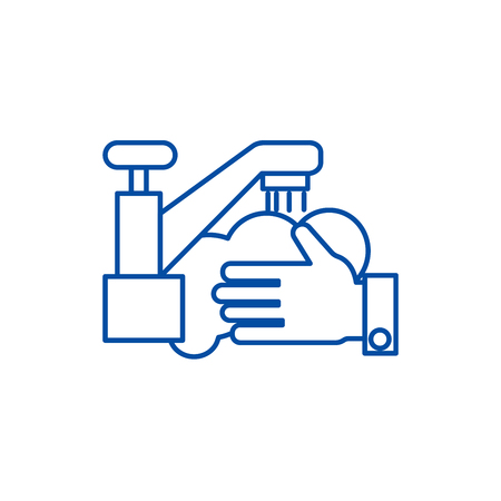 Washing hands,wash crane line concept icon. Washing hands,wash crane flat  vector website sign, outline symbol, illustration.