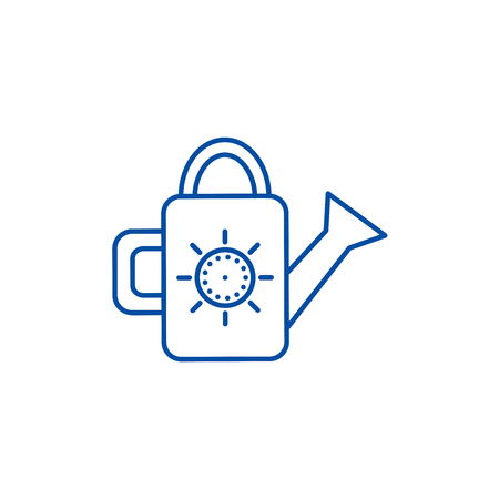 Watering can illustration line concept icon. Watering can illustration flat  vector website sign, outline symbol, illustration. Çizim
