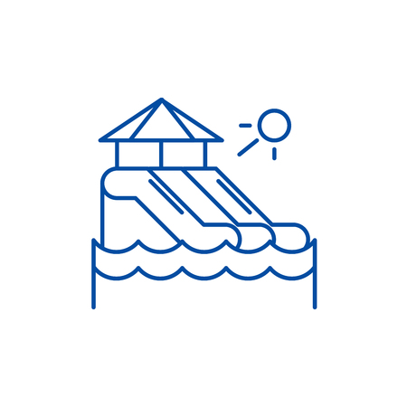 Waterslides line concept icon. Waterslides flat  vector website sign, outline symbol, illustration. Standard-Bild - 119714014