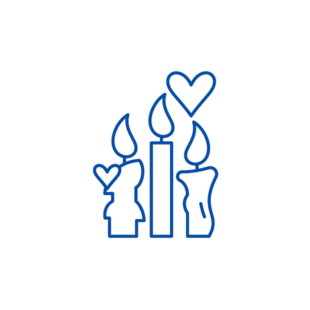 Wax candles line concept icon. Wax candles flat  vector website sign, outline symbol, illustration. Ilustração