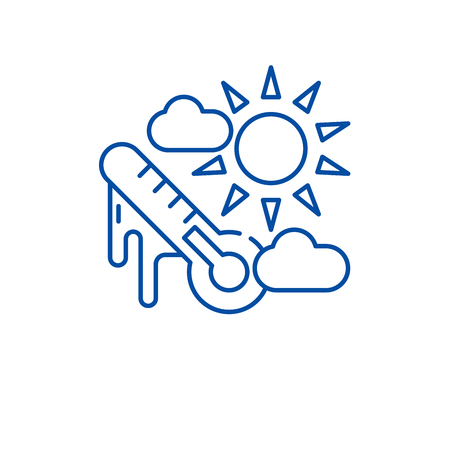 Weather climate line concept icon. Weather climate flat  vector website sign, outline symbol, illustration. Illustration
