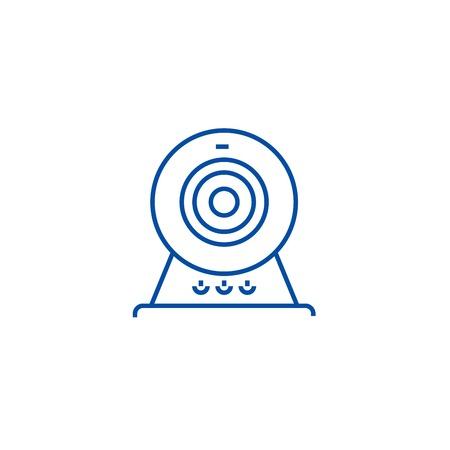 Web cam,online camera line concept icon. Web cam,online camera flat vector website sign, outline symbol, illustration.
