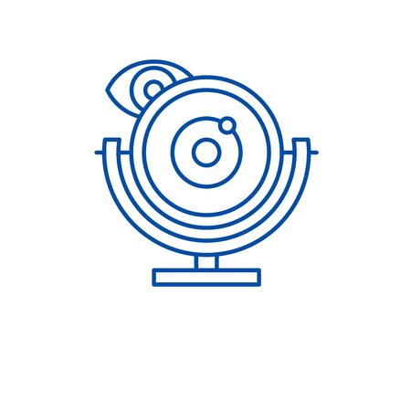 Web camera line concept icon. Web camera flat  vector website sign, outline symbol, illustration. Illustration