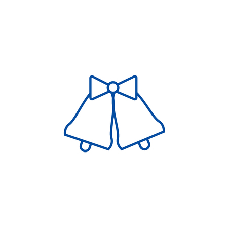 Wedding bells  line concept icon. Wedding bells  flat  vector website sign, outline symbol, illustration. Illustration