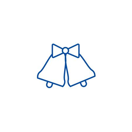 Wedding bells  line concept icon. Wedding bells  flat  vector website sign, outline symbol, illustration.  イラスト・ベクター素材