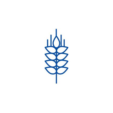 Wheat sprig line concept icon. Wheat sprig flat  vector website sign, outline symbol, illustration.