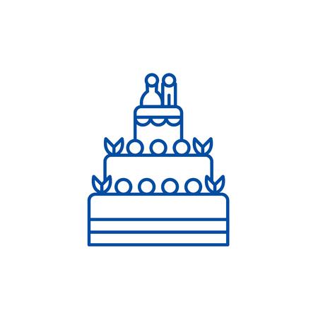 Wedding cake line concept icon. Wedding cake flat  vector website sign, outline symbol, illustration.