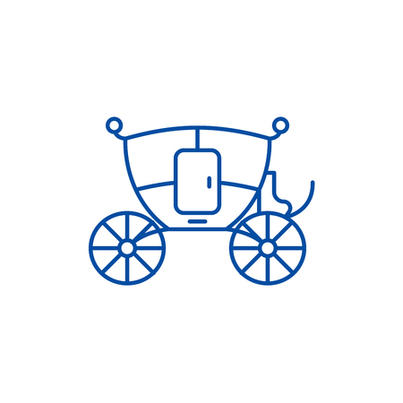 Wedding carriage line concept icon. Wedding carriage flat  vector website sign, outline symbol, illustration.