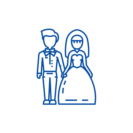 Wedding couple,bride and groom line concept icon. Wedding couple,bride and groom flat  vector website sign, outline symbol, illustration.