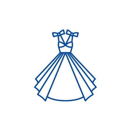 Wedding dress line concept icon. Wedding dress flat  vector website sign, outline symbol, illustration. 스톡 콘텐츠 - 120117258