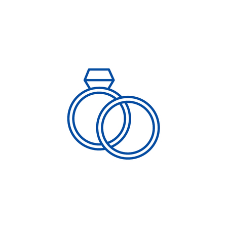 Wedding rings with diamond line concept icon. Wedding rings with diamond flat  vector website sign, outline symbol, illustration.