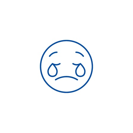 Weeping emoji emoji line concept icon. Weeping emoji emoji flat  vector website sign, outline symbol, illustration. Illustration
