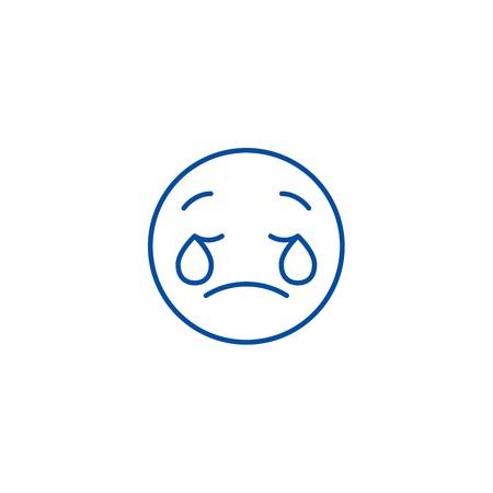 Weeping emoji emoji line concept icon. Weeping emoji emoji flat  vector website sign, outline symbol, illustration. Standard-Bild - 120117264