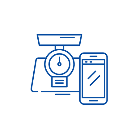 Weight control online line concept icon. Weight control online flat  vector website sign, outline symbol, illustration. 스톡 콘텐츠 - 120117266