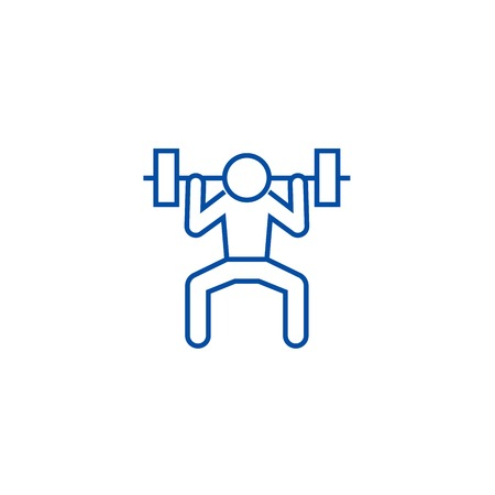 Weight lifting man line concept icon. Weight lifting man flat  vector website sign, outline symbol, illustration.