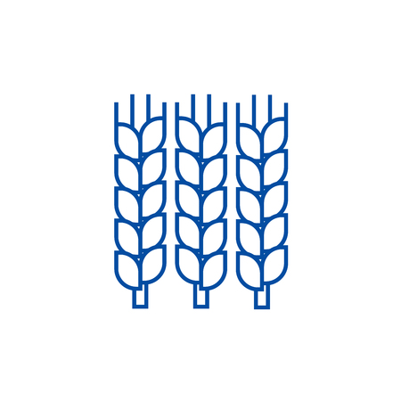 Wheat line concept icon. Wheat flat  vector website sign, outline symbol, illustration.