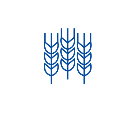 Wheat grains line concept icon. Wheat grains flat vector website sign, outline symbol, illustration.