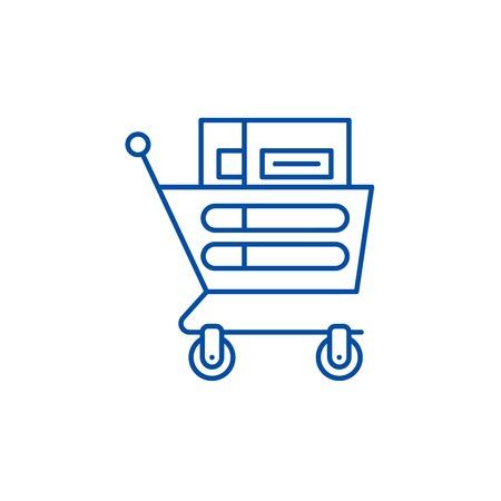 Wheelbarrow in the supermarket line concept icon. Wheelbarrow in the supermarket flat  vector website sign, outline symbol, illustration.