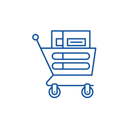 Wheelbarrow in the supermarket line concept icon. Wheelbarrow in the supermarket flat  vector website sign, outline symbol, illustration.