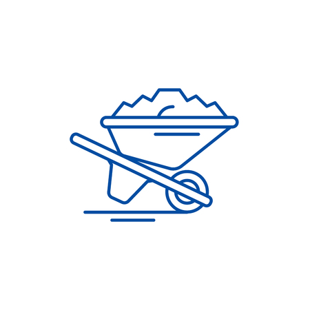 Wheelbarrow with sand line concept icon. Wheelbarrow with sand flat  vector website sign, outline symbol, illustration.