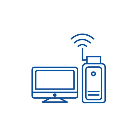 Wi fi adapter,wireless  line concept icon. Wi fi adapter,wireless  flat  vector website sign, outline symbol, illustration.