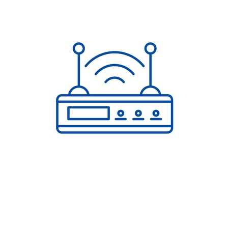 Wi fi router line concept icon. Wi fi router flat  vector website sign, outline symbol, illustration. 向量圖像