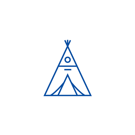 Wigwam line concept icon. Wigwam flat  vector website sign, outline symbol, illustration. Illustration