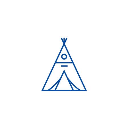 Wigwam line concept icon. Wigwam flat  vector website sign, outline symbol, illustration. Ilustrace