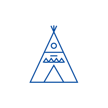 Wigwam illustation line concept icon. Wigwam illustation flat  vector website sign, outline symbol, illustration.