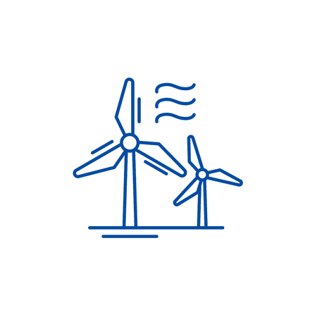 Wind power line concept icon. Wind power flat  vector website sign, outline symbol, illustration.