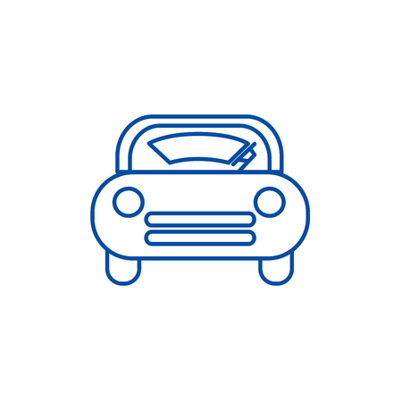Windshield car line concept icon. Windshield car flat  vector website sign, outline symbol, illustration. Illustration