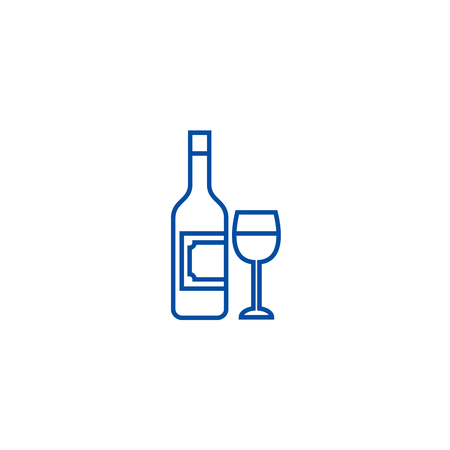 Wine and glass line concept icon. Wine and glass flat  vector website sign, outline symbol, illustration.