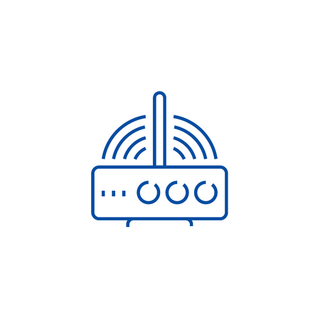 Wireless router  line concept icon. Wireless router  flat  vector website sign, outline symbol, illustration. 일러스트