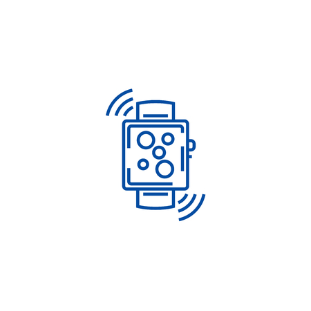 Wireless smart watch line concept icon. Wireless smart watch flat  vector website sign, outline symbol, illustration.