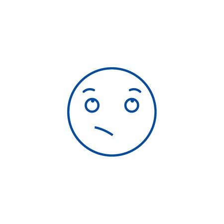 Wistful emoji line concept icon. Wistful emoji flat  vector website sign, outline symbol, illustration.