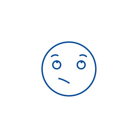 Wistful emoji line concept icon. Wistful emoji flat  vector website sign, outline symbol, illustration.