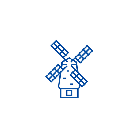 Windmill line concept icon. Windmill flat  vector website sign, outline symbol, illustration. Stock Illustratie